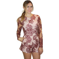 Mehndi Long Sleeve Romper in Mehndi