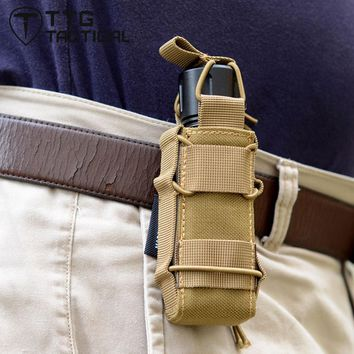 TTGTACTICAL MOLLE Open Top Tactical Magazine Pouch Single Tactical Torch Pouch Holder Cordura Nylon Coyote Brown/CP Multicam