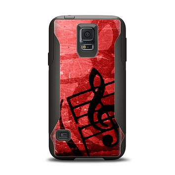 The Scratched Red Surface with Black Music Note Samsung Galaxy S5 Otterbox Commuter Case Skin Set