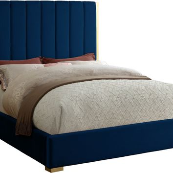 Becca Navy Velvet Queen Bed