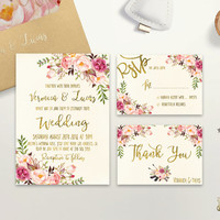 Floral Wedding Invitation Printable Boho Chic Wedding Invitation Suite Bohemian Wedding Invite Gold Foil Typography Spring / Summer Wedding