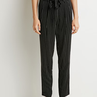 Belted Pinstripe Trousers