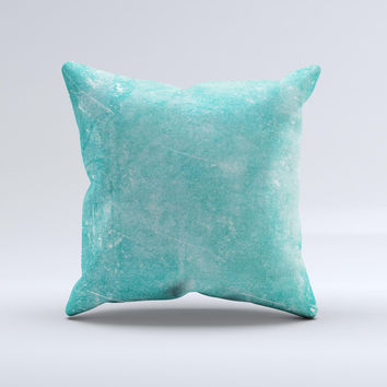 Scratched Turquoise Surface Ink-Fuzed Decorative Throw Pillow