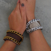 Angelica Leather Cuff with Chain in Crocodile