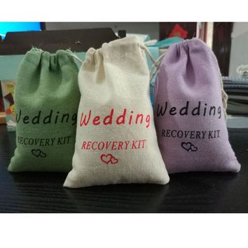 Wedding Heart Hangover Kit Linen Gift Bag 10x15cm pack of 50 Heart Wedding Favor Holder Jewelry Packaging Pouches