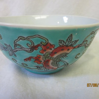 Asian Rice Bowl, Soup, Porcelain, Aqua Blue Turquoise, made in China