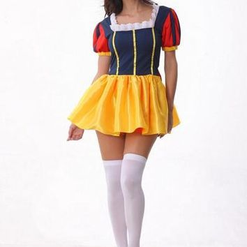 Hot selling princess Snow White Costume fancy Sexy Fashion Dress+headwear sexy Halloween Cosplay  Adult For Women Party Costume