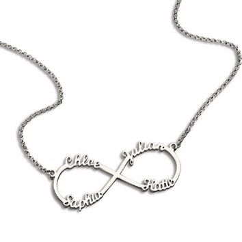 Personalized sterling silver 4 name necklace