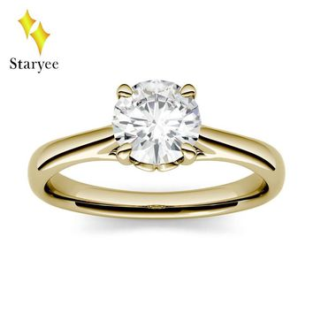 Test Positive 6.5mm 1.0ctw GH VS Moissanite Four Prong Solitaire Engagement Lab Diamond Ring Wedding Jewelry in 18K Yellow Gold