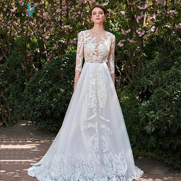Dressv Ivory Long Wedding Dress Three Quarter Sleeves Jewel Neck A Line Appliques Lace Tulle Sweep Train Custom Wedding Dress