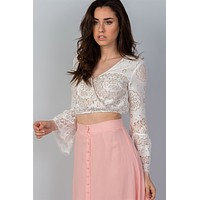 Bell Sleeved Boho Lace Crop Top