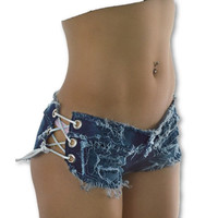 Opened Lace Up Jean Shorts