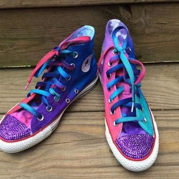 3b6a869a12a5 Jewel Tone Converse Blinged Bedazzled Tie Dye Converse HIGH TOP