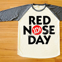 1D T-Shirt Red Nose Day T-Shirt One Direction T-Shirt Raglan Tee Shirt Long Sleeve Tee Shirt Women T-Shirt Men T-Shirt Baseball Shirt S,M,L