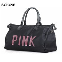 LMFONHS Designer Metal Sequins PINK letters Gym Fitness Sports Bag Shoulder Crossbody Bag Women Tote Handbag Travel Duffle Bolsa XA563YL