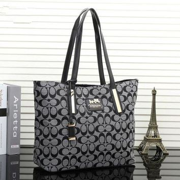 DCCKXT7 Coach' Women Casual Fashion Classic Logo Print Single Shoulder Bag Handbag Large Capacity Tote Shopper Bag