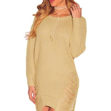 Chicloth Khaki Ripped Knit Long Sleeves Sweater