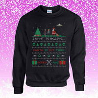 The X-Files I Want to Believe Ugly Christmas Sweater Sweatshirt Unisex Adults