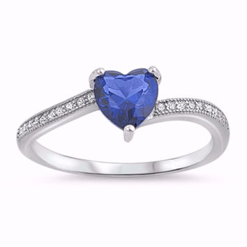 Sterling Silver CZ Blue Sapphire Simulated Diamond Crush Hearts Ring