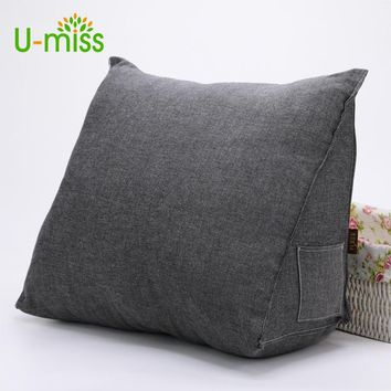 U-Miss Wedge High Elastic Cotton Cushion Bed Backrest Triangular Office Waist Body Bedding Orthopedic Maternity Pillow