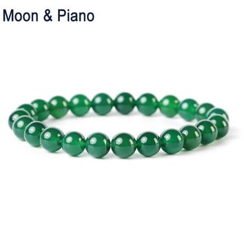 Natural Green Agates Strand Bracelets  Round Beads Ornaments Men and Women Energy Jewelry for  Lovers Christmas Gift New