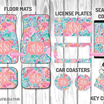 Peel And Eat Inspired by Lilly Pulitzer Car Mat /Plate & Frame / Seat belt cover / Key Chain / Car Coaster / Car Accessory Gift  Set