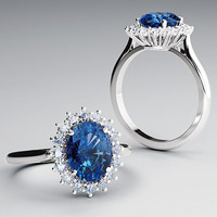 Halo-Styled 14kt White Gold Ring with Imitation 10x8mm Oval Sapphire and 0.54 ct. Diamonds