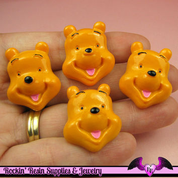 4 pc BEAR Cartoon   Resin Flatback Decoden Kawaii Cabochons 28x21mm
