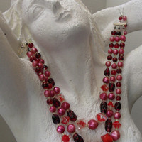 Vintage 3 Strand Japan Necklace Moonglow Fuchsia Pearl and Art Glass