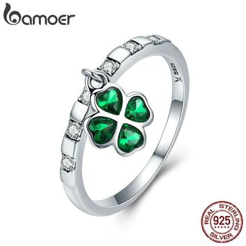 BAMOER 925 Sterling Silver Day Ring Lucky Four Leaf Clover Petal Dangle Female Ring for Women Sterling Silver Jewelry SCR271