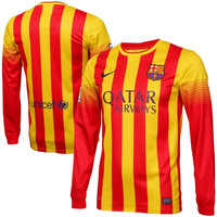 Nike Barcelona FC Replica Long Sleeve Away Performance Jersey - Red/Yellow