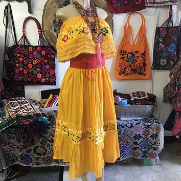 Mexican Campesina Dress Yellow