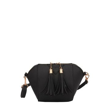 Double Tassel Zipper Crossbody Bag