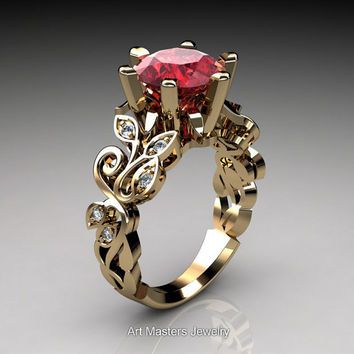 Nature Inspired 14K Yellow Gold 3.0 Ct Ruby Diamond Leaf and Vine Crown Solitaire Ring RD101-14KYGDR