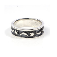 925 Sterling Silver Moon Stars Symbol Ring