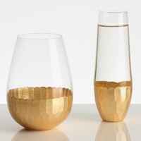 Gold Stemless Wine Glasses Set of 4