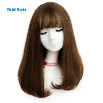 Your Style 45 Colors Synthetic Long Straight Natural Hair Wigs With Bangs Womens African American Hair Brown Blonde Gray Color