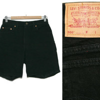 Vintage Levi Shorts~Waist 28~80s 90s High Waisted Denim Jean Black Shorts~By Levi Strauss & Co.