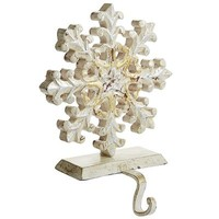 Antiqued Wood Snowflake Stocking Holder