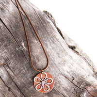 Inspirational necklace unique - handstamped copper pendant - silver flower - gift for her