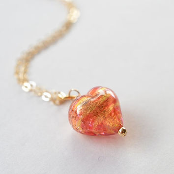 Puffy Heart, Murano Glass, 24 K Gold Lined Pendant Necklace on an 18 inch Gold Filled Chain
