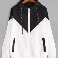 Color Block Drawstring Hooded Zip Up Jacket -SheIn(Sheinside)