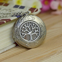 Necklace  Locket Necklace Photo Locket Necklace Pendant  Tree Necklace  Tree of Life antique Silver