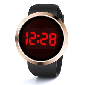 Fashion Touch Screen Watches Mens Women Fashion Black Rubber Band LED Digital Wrist Watches Men Sports Clock  Silicone Watch #Ju