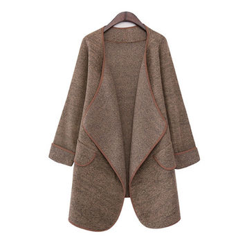 Camel Asymmetric Lapel Cardigan With Pocket