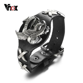 "Vnox Punk Rock Eagle Bracelet For Men Genuine Real Leather ""LIVE TO RIDE,RIDE TO LIVE"" Cross Male Soldier Jewelry Adjustable"