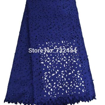 Beaded laser cut lace fabric  african lace fabric high quality lace