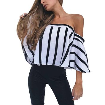 Women Slash Neck Off Shoulder Flare Half Sleeve Blouse Casual Tops blouse mousseline