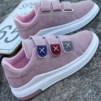 New Pink Round Toe Flat Velcro Casual Ankle Shoes