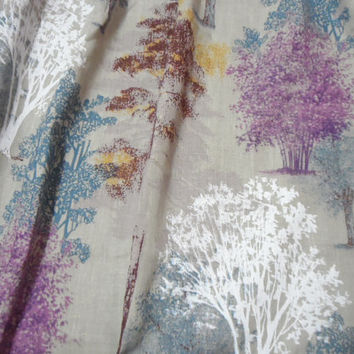 Window Valance Linen Rod Pocket Curtain Valance Natural linen valance 54'' x 24'' Rustic linen. Forest, trees cafe curtain